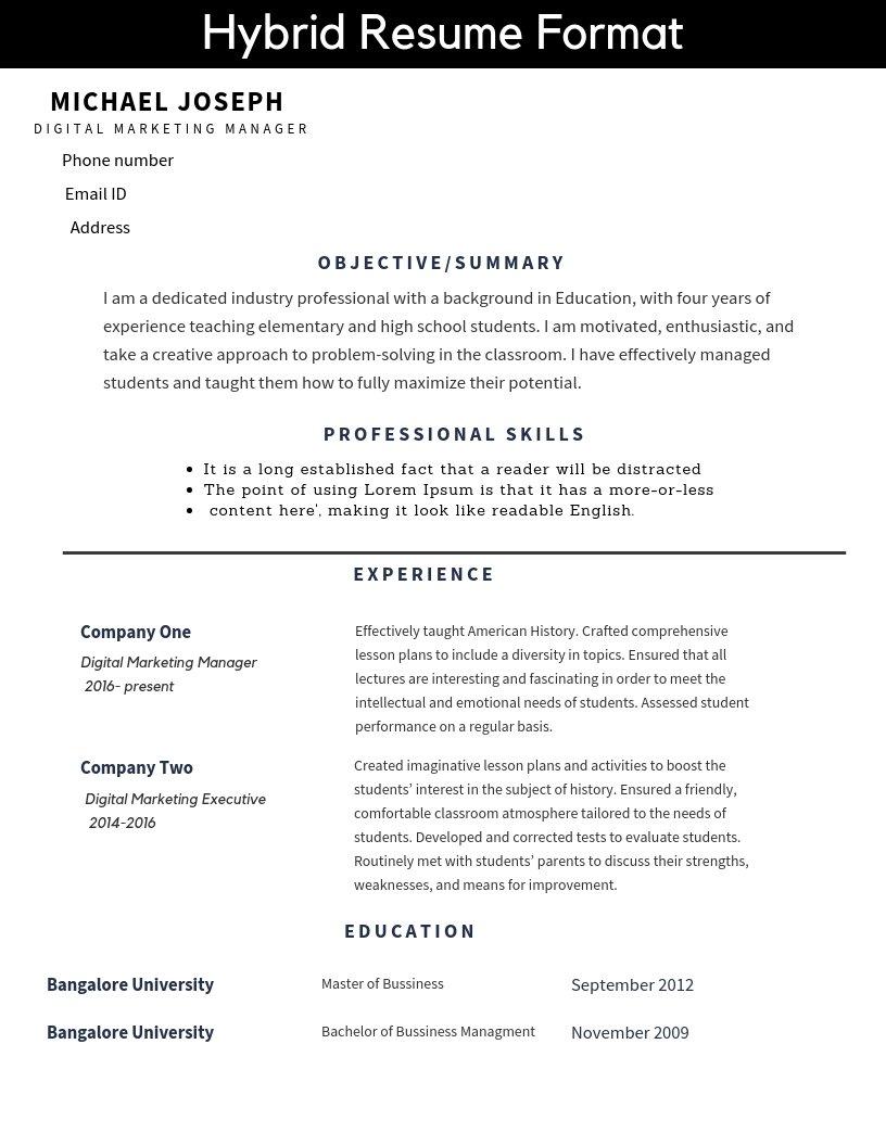 Resume Formats And Free Templates — TutorialBrain