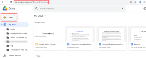 How open Google slides google drive new button