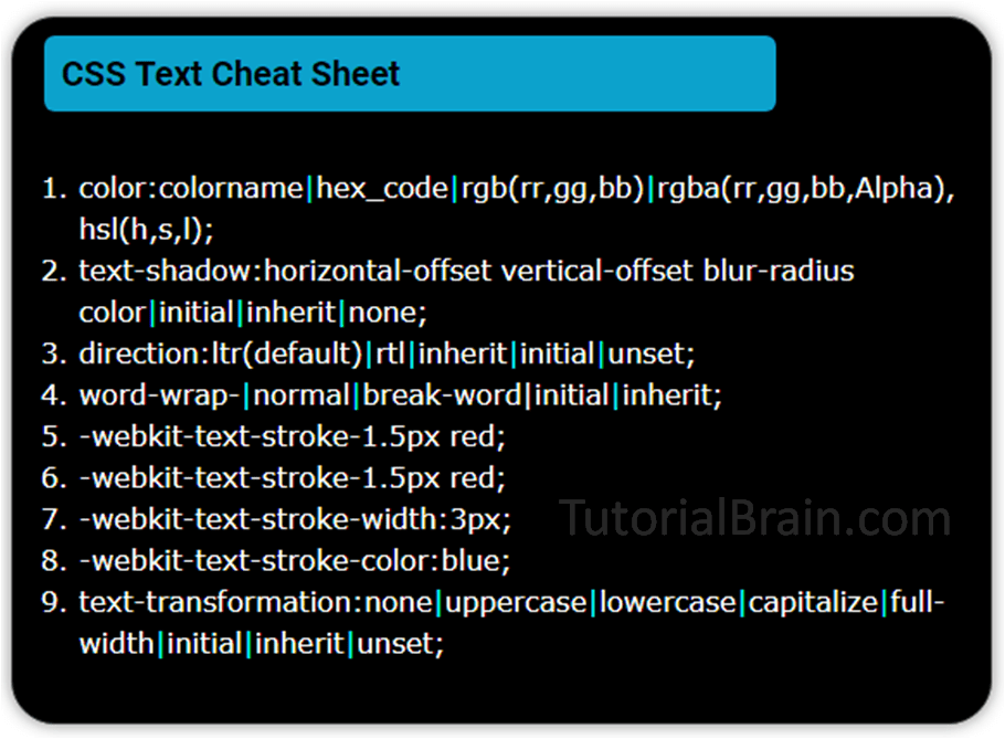 CSS Text cheat sheet