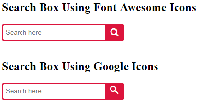CSS search Box with icons