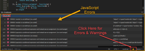 Brackets JavaScript Errors ESLint