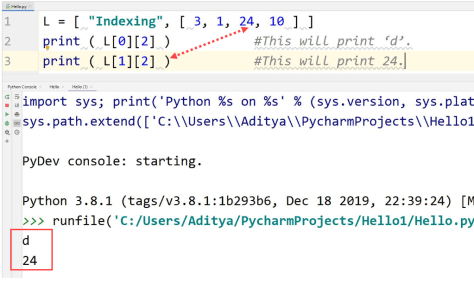 Python nested indexing