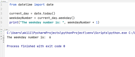 Python current weekday