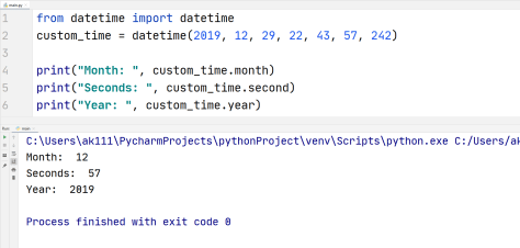 Python individual date time value