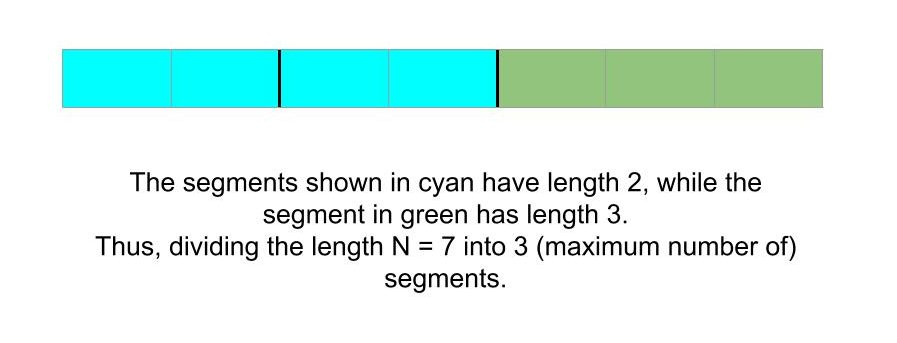 Maximum number of segments of lengths a, b and c