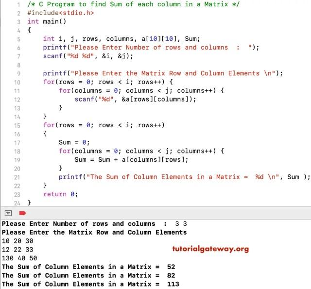 C Program to find Sum of each column in a Matrix