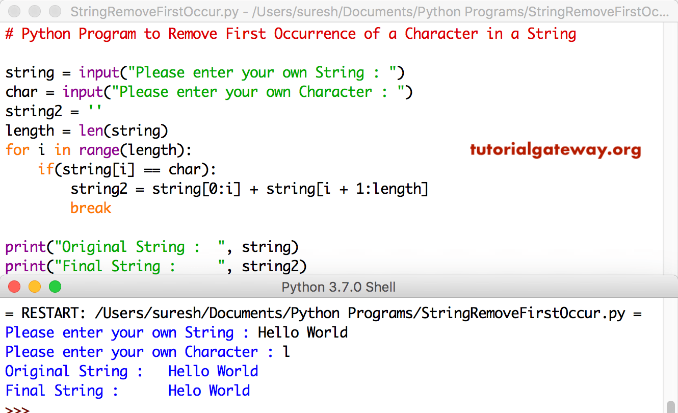 Python Program to Remove First Occurrence of a Character in a String