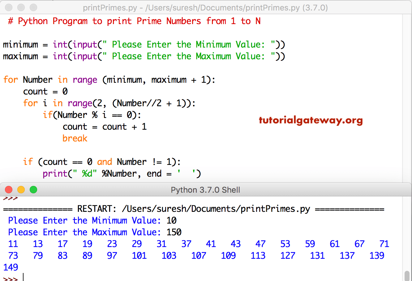 Python Program To Print Prime Numbers From 1 To 100