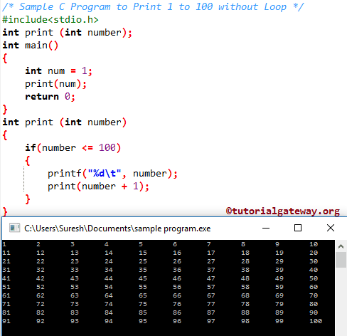 write a c program to print multiplication table using for