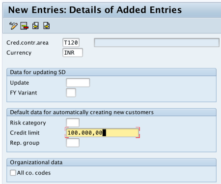 Define Credit Control Area in SAP