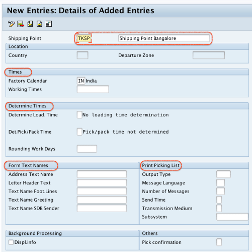 Define Shipping point in SAP