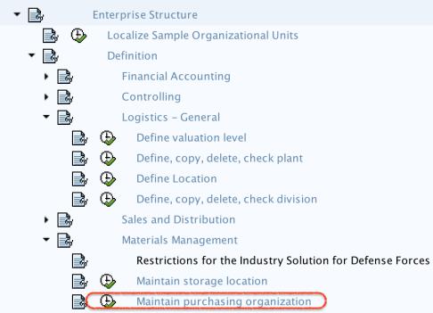 Maintain Purchase Organization SAP path