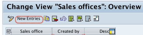 Sales Office New entries in SAP