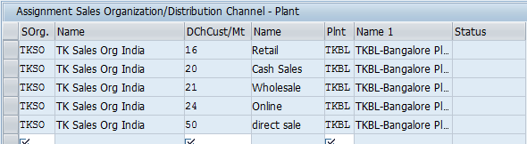Assign Sales organization, Distribution Channel, Plant