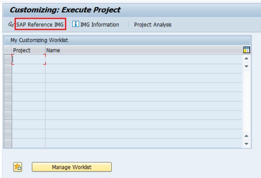 SAP Reference IMG Screen
