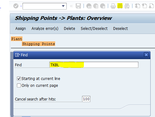 shipping point -- plants overview SAP