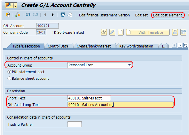 SAP Edit cost elements