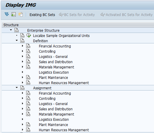 SAP Reference IMG Enterprise Structure