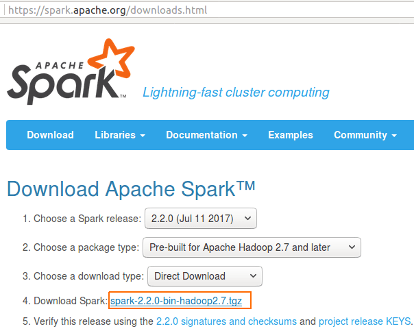 Download Apache Spark for Setup - Apache Spark Tutorial - www.tutorialkart.com