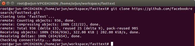 Git Clone fastText.git - FastText Tutorial - www.tutorialkart.com