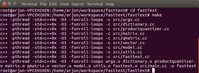 Build FastText - FastText Tutorial - www.tutorialkart.com