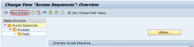 Access sequences new entries SAP