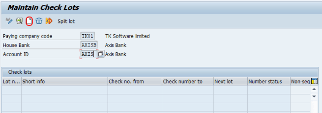 Define number ranges for checks SAP