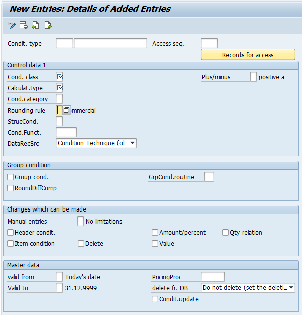 create Condition Types in SAP SD