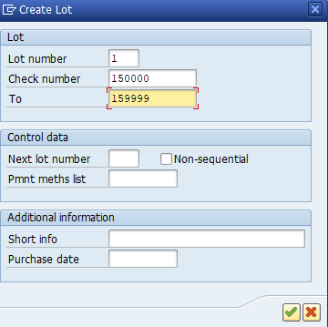 create check lot in SAP