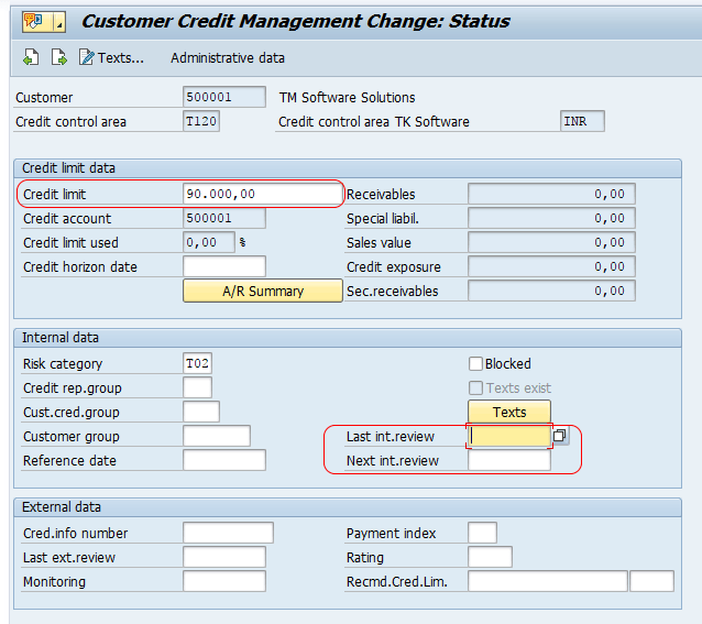 maintain credit limit for Customers in SAP