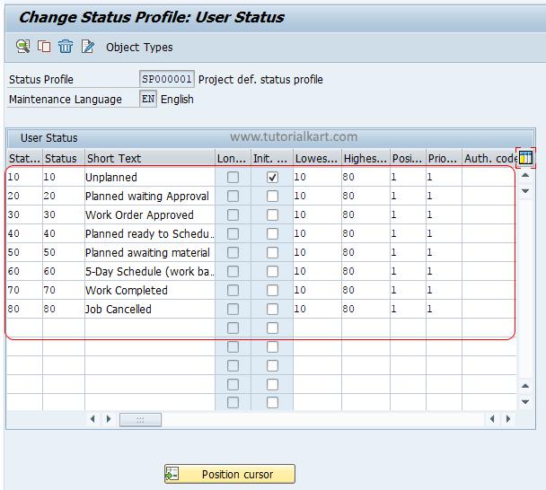 Status profile user status