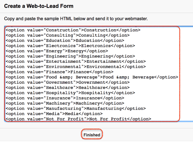 Salesforce web to lead forms