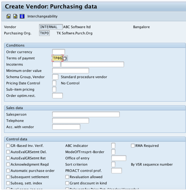 Create vendor code purchasing data SAP