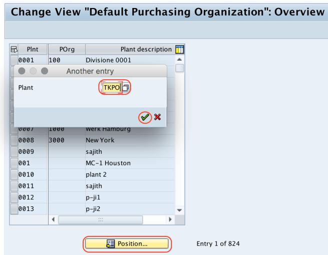 Default Purchasing organization position SAP