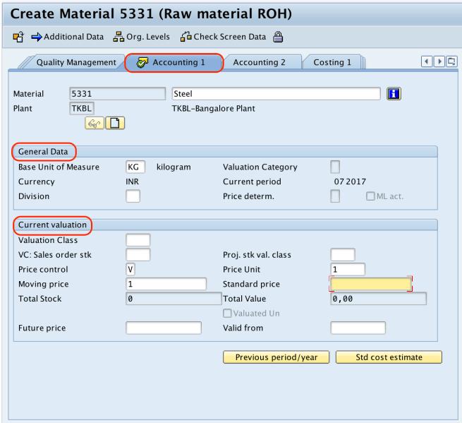 Material Master Record accounting SAP