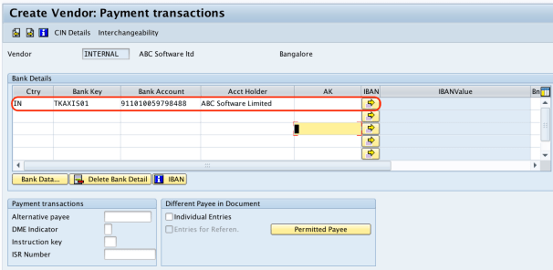 create vendor - payment transactions SAP