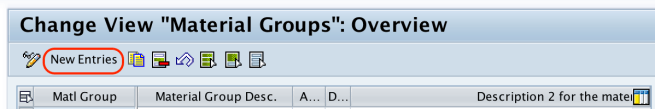 material groups new entries SAP