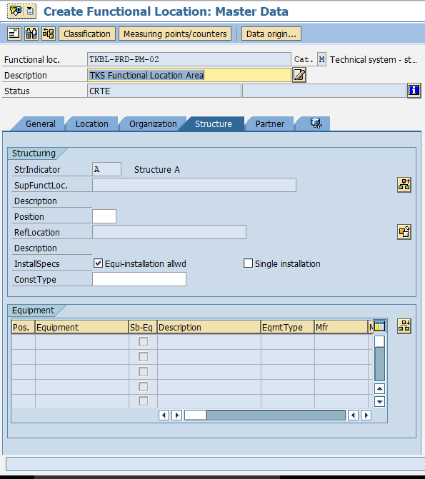 Create Functional Location in SAP structure