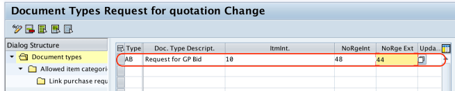 Define Document Types for RFQ - Quotation