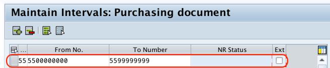 Define Number Ranges for Purchase Order