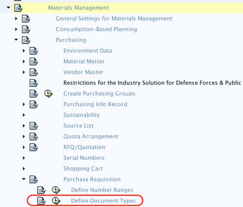 Define document types for PR SAP path
