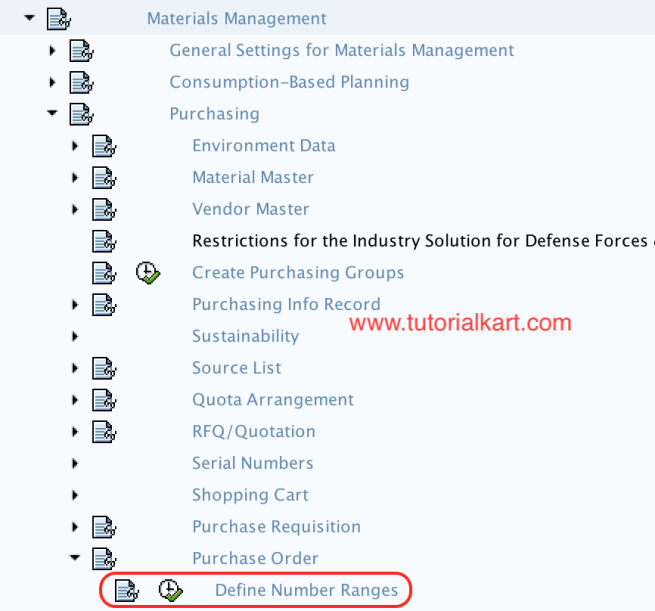Define number ranges in SAP path