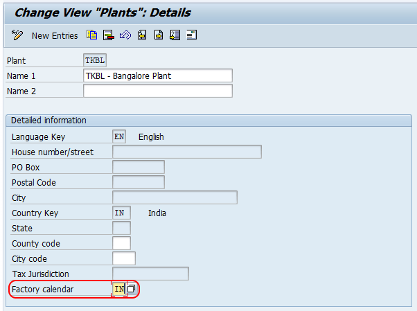 Factory Calendar to Plant in SAP