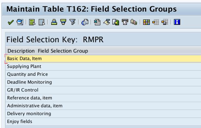 Field Selection key - SAP