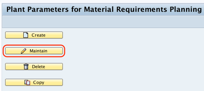 Plant parameters for material requirement planning SAP