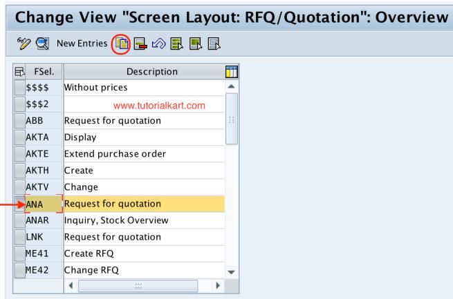 Screen layout RFQ new entries SAP