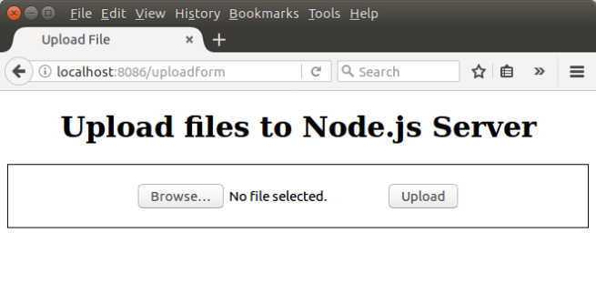 Node.js Upload File - HTML Form