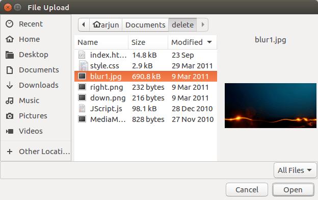 Node.js Upload File - Select File