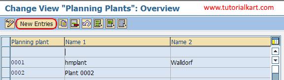planning plant new entries SAP