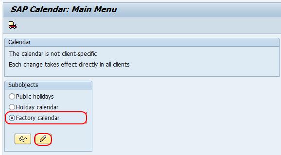 sap calendar main menu